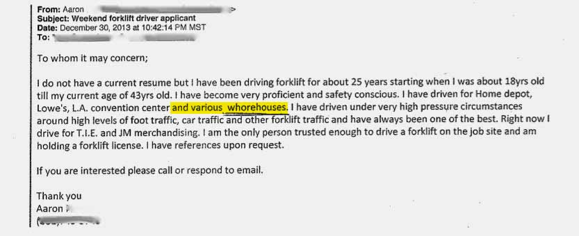 cover letter typo