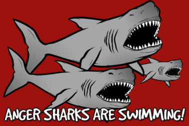 angry sharks are swimming